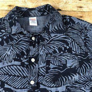 NWT Boy/'s Gymboree Island Cruise blue short sleeve leaf button up shirt ~ 5 6